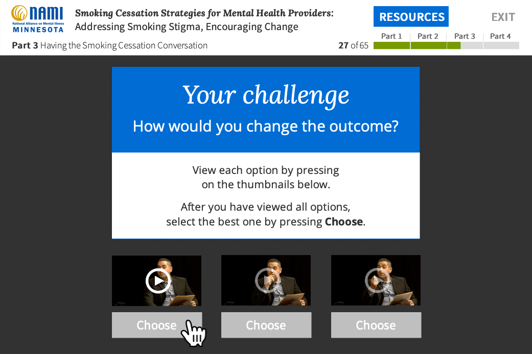 A screen shot of a course showing a video option being selected in a multiple choice question.